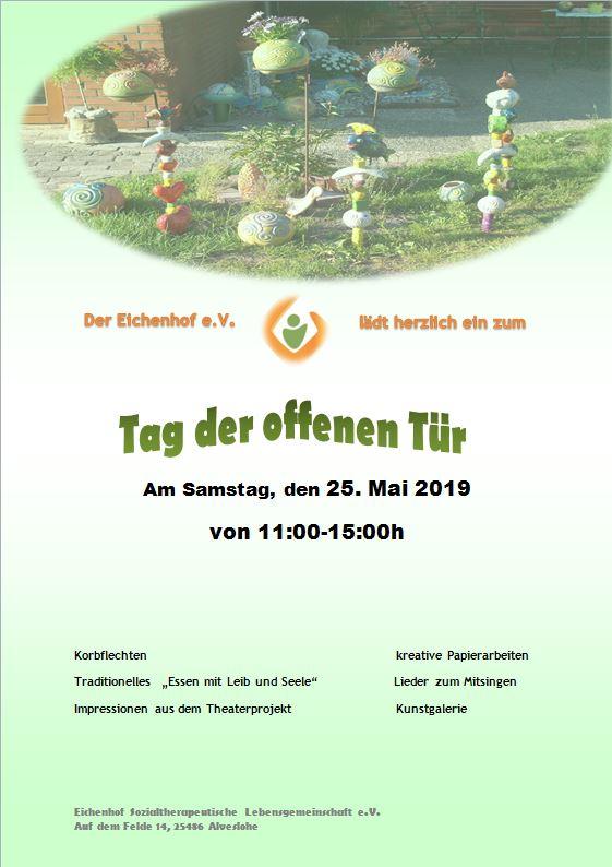 Tag der offenen Tür auf dem Eichenhof am 25. Mai 19 von 11.00 Uhr bis 15.00 Uhr